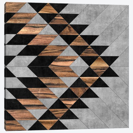 Urban Tribal Pattern No.10 - Aztec - Concrete and Wood Canvas Print #ZRA35} by Zoltan Ratko Art Print