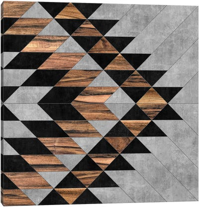 Urban Tribal Pattern No.10 - Aztec - Concrete and Wood Canvas Art Print