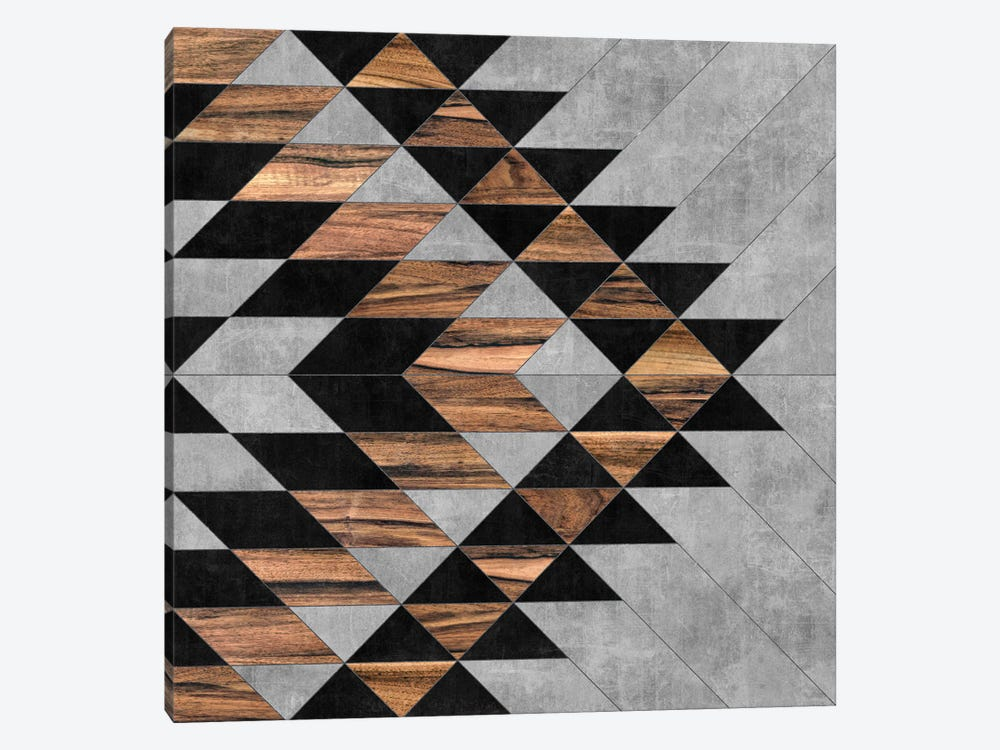 Urban Tribal Pattern No.10 - Aztec - Concrete and Wood by Zoltan Ratko 1-piece Art Print