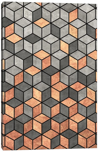 Concrete and Copper Cubes Canvas Art Print