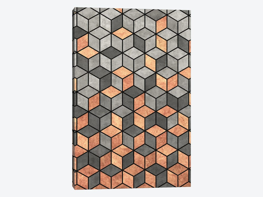 Concrete and Copper Cubes by Zoltan Ratko 1-piece Canvas Artwork