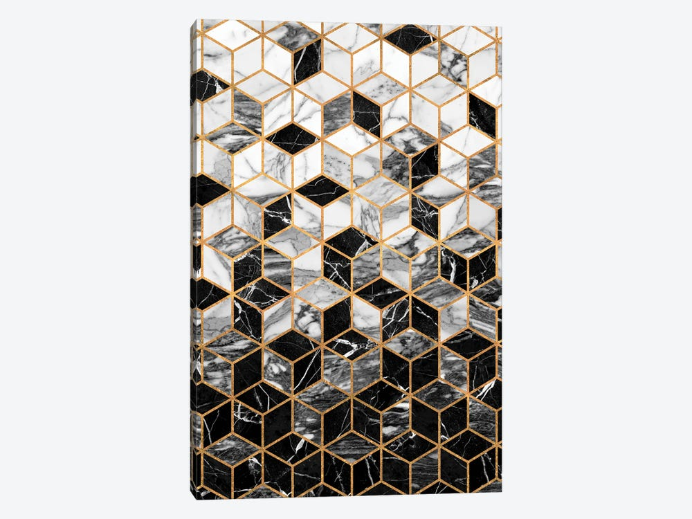 Marble Cubes - Black and White by Zoltan Ratko 1-piece Canvas Art Print