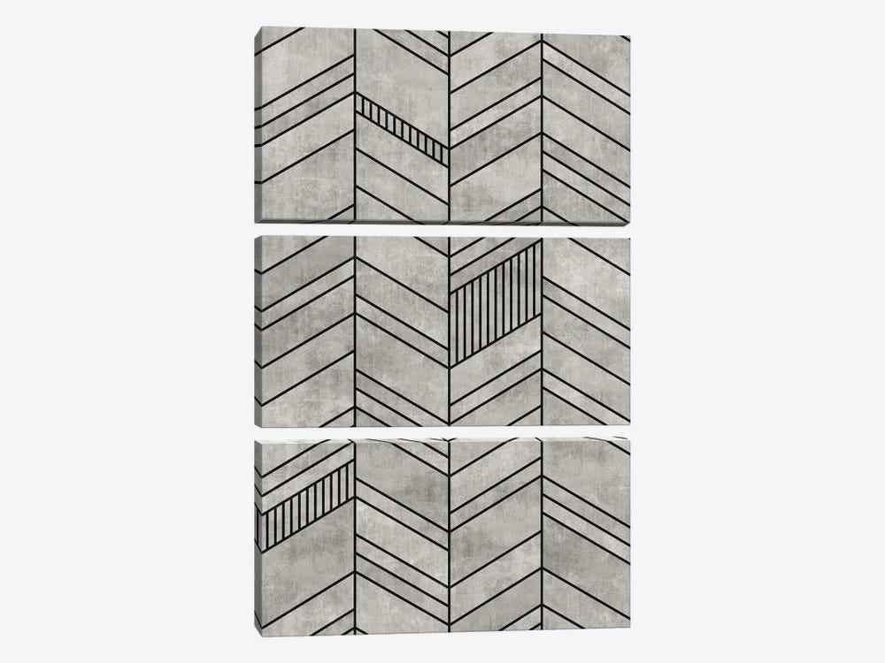 Concrete Chevron by Zoltan Ratko 3-piece Canvas Art