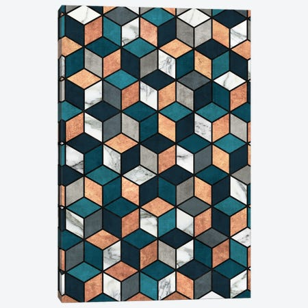 Copper, Marble and Concrete Cubes with Blue Canvas Print #ZRA40} by Zoltan Ratko Canvas Print