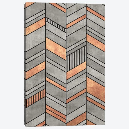 Abstract Chevron Pattern - Concrete and Copper Canvas Print #ZRA41} by Zoltan Ratko Canvas Print