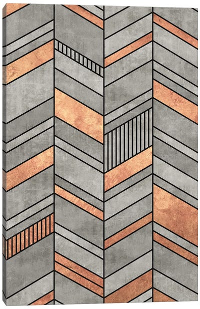 Abstract Chevron Pattern - Concrete and Copper Canvas Art Print