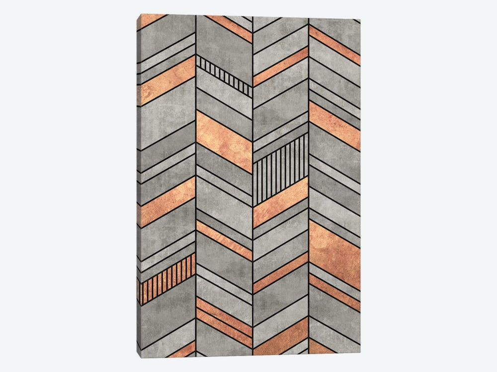 Abstract Chevron Pattern - Concrete and Copper by Zoltan Ratko 1-piece Canvas Artwork