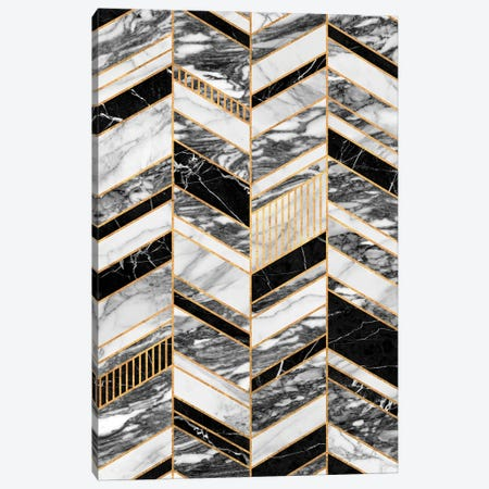 Abstract Chevron Pattern - Black and White Marble Canvas Print #ZRA42} by Zoltan Ratko Art Print