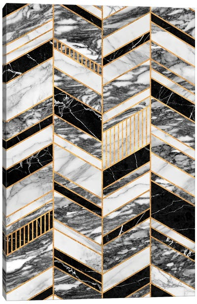 Abstract Chevron Pattern - Black and White Marble Canvas Art Print