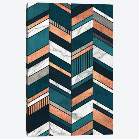 Abstract Chevron Pattern - Copper, Marble, and Blue Concrete Canvas Print #ZRA43} by Zoltan Ratko Canvas Print