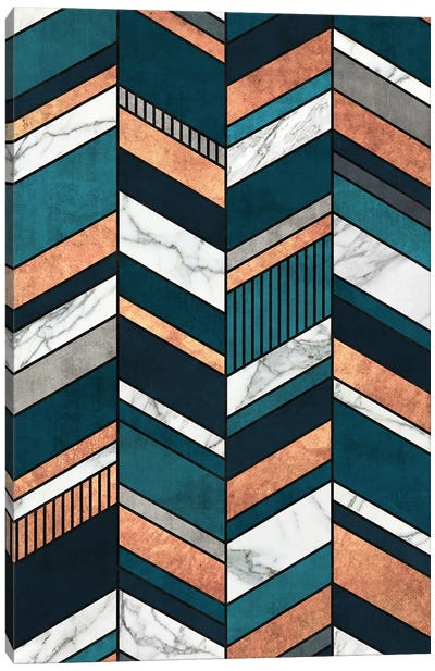 Abstract Chevron Pattern - Copper, Marble, and Blue Concrete Canvas Art Print