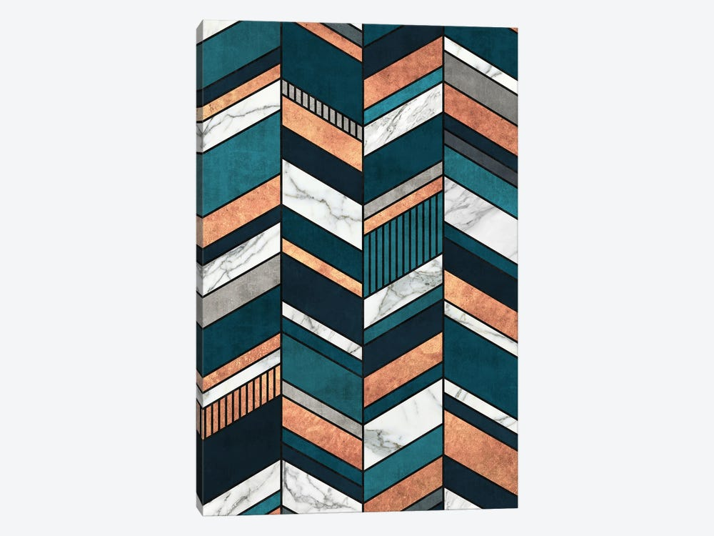 Abstract Chevron Pattern - Copper, Marble, and Blue Concrete by Zoltan Ratko 1-piece Canvas Wall Art