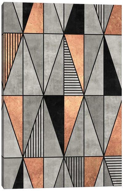 Concrete and Copper Triangles Canvas Art Print