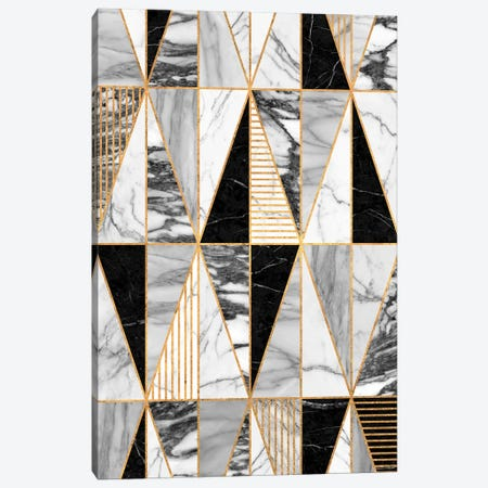 Marble Triangles - Black and White Canvas Print #ZRA45} by Zoltan Ratko Canvas Wall Art