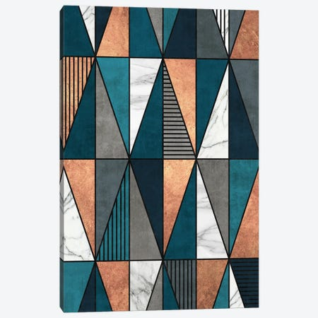 Copper, Marble and Concrete Triangles with Blue Canvas Print #ZRA46} by Zoltan Ratko Canvas Artwork