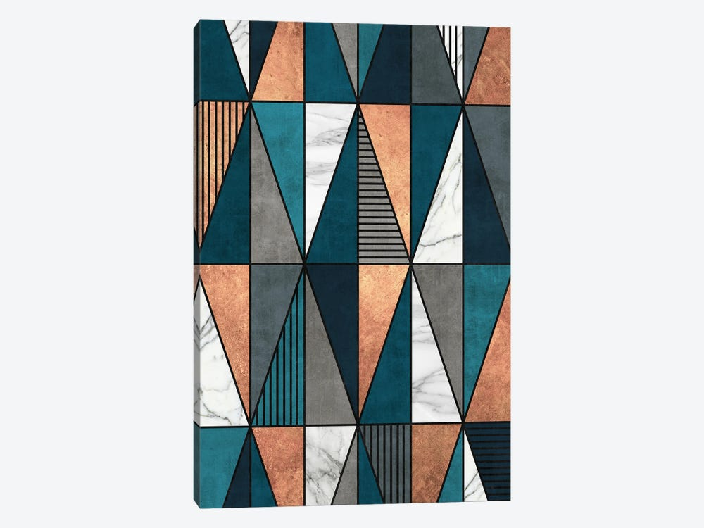 Copper, Marble and Concrete Triangles with Blue by Zoltan Ratko 1-piece Canvas Print