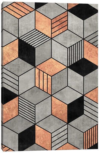 Concrete and Copper Cubes 2 Canvas Art Print