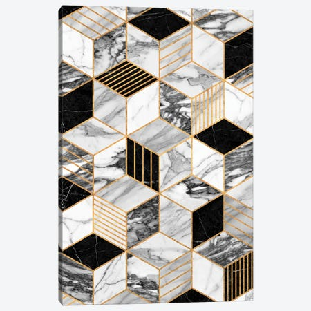 Marble Cubes 2 - Black and White Canvas Print #ZRA48} by Zoltan Ratko Canvas Print
