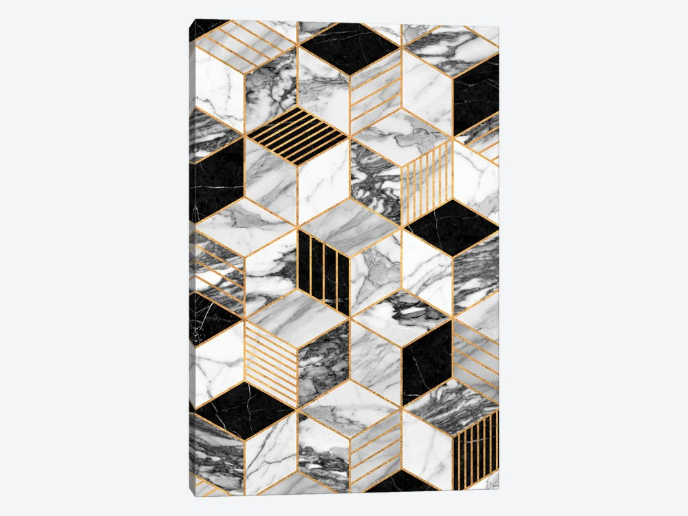 Marble Cubes 2 - Black and White by Zoltan Ratko 1-piece Canvas Print