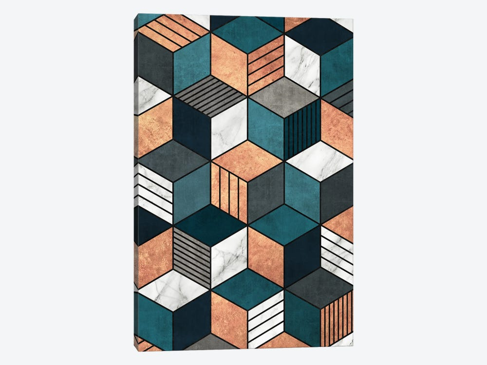 Copper, Marble and Concrete Cubes 2 with Blue by Zoltan Ratko 1-piece Canvas Art