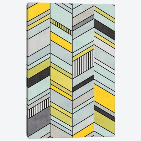 Colorful Concrete Chevron Pattern - Yellow, Blue, Grey Canvas Print #ZRA4} by Zoltan Ratko Canvas Wall Art