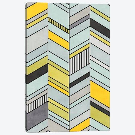 Colorful Concrete Chevron Pattern - Yellow, Blue, Grey Canvas Print #ZRA4} by Zoltan Ratko Canvas Wall Art