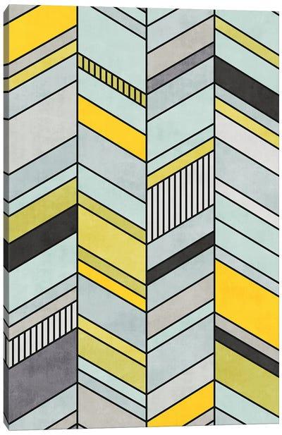 Colorful Concrete Chevron Pattern - Yellow, Blue, Grey Canvas Art Print