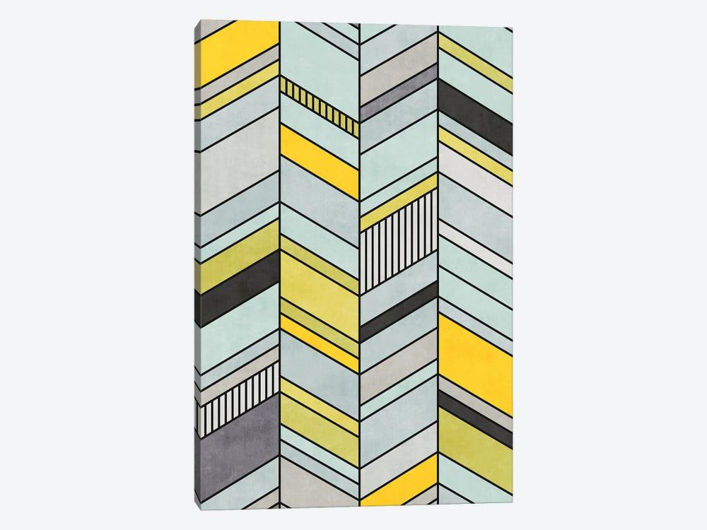 Colorful Concrete Chevron Pattern - Yellow, Blue, Grey by Zoltan Ratko 1-piece Canvas Print