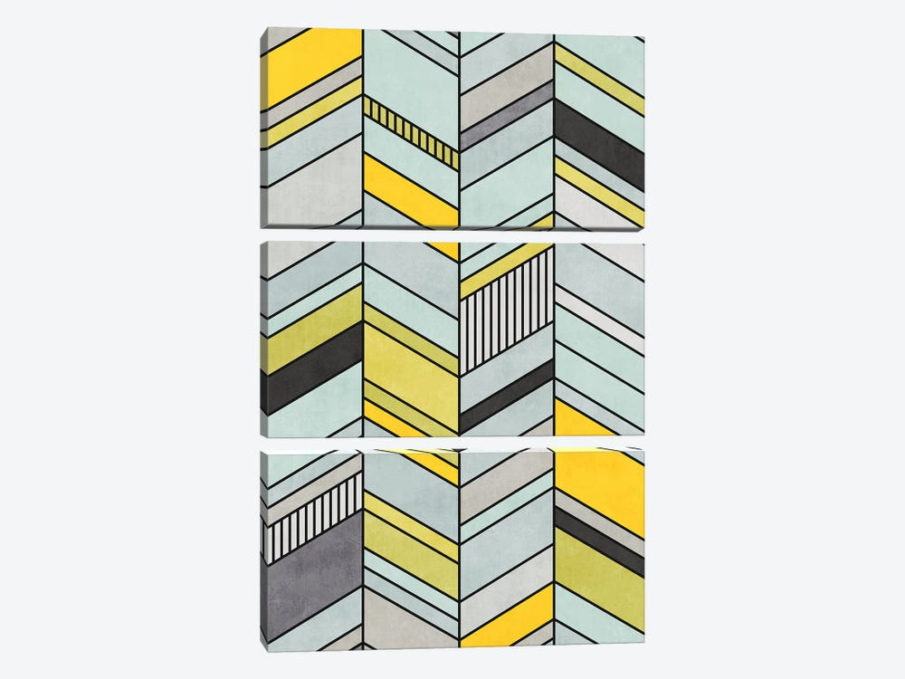 Colorful Concrete Chevron Pattern - Yellow, Blue, Grey by Zoltan Ratko 3-piece Canvas Print