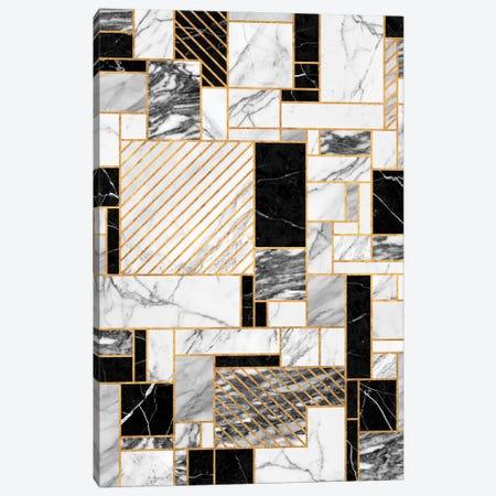Random Pattern - Black and White Marble Canvas Print #ZRA51} by Zoltan Ratko Canvas Art