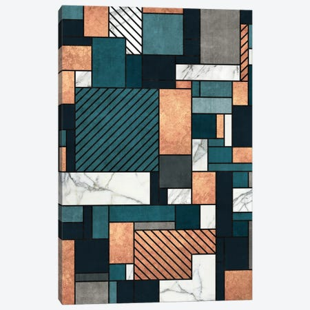 Random Pattern - Copper, Marble, and Blue Concrete Canvas Print #ZRA52} by Zoltan Ratko Canvas Artwork
