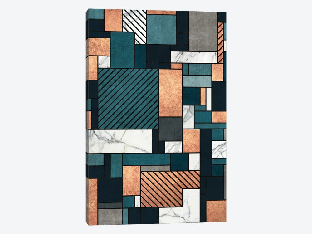 Random Pattern - Copper, Marble, and Blue Concrete by Zoltan Ratko 1-piece Canvas Wall Art