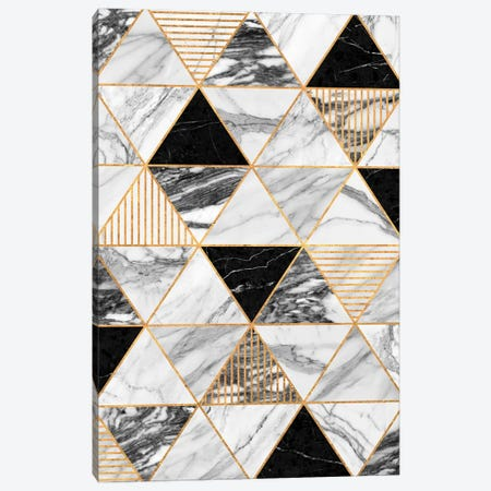 Marble Triangles 2 - Black and White Canvas Print #ZRA54} by Zoltan Ratko Canvas Print