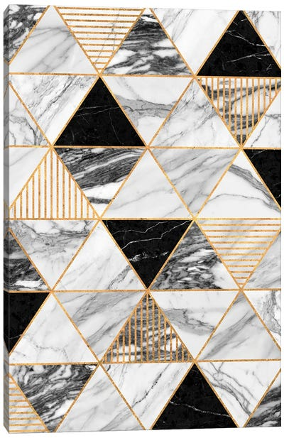 Marble Triangles 2 - Black and White Canvas Art Print