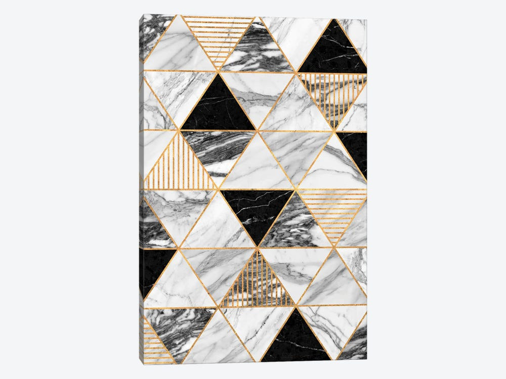 Marble Triangles 2 - Black and White by Zoltan Ratko 1-piece Canvas Wall Art