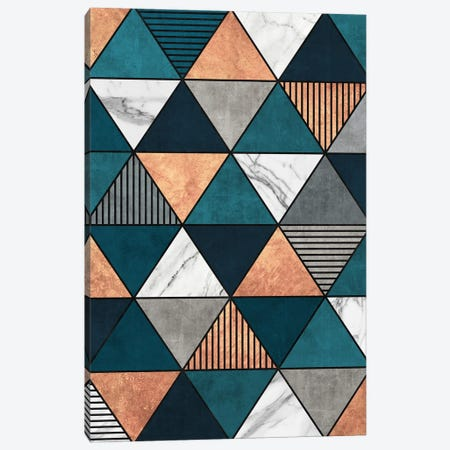 Copper, Marble and Concrete Triangles 2 with Blue Canvas Print #ZRA55} by Zoltan Ratko Art Print