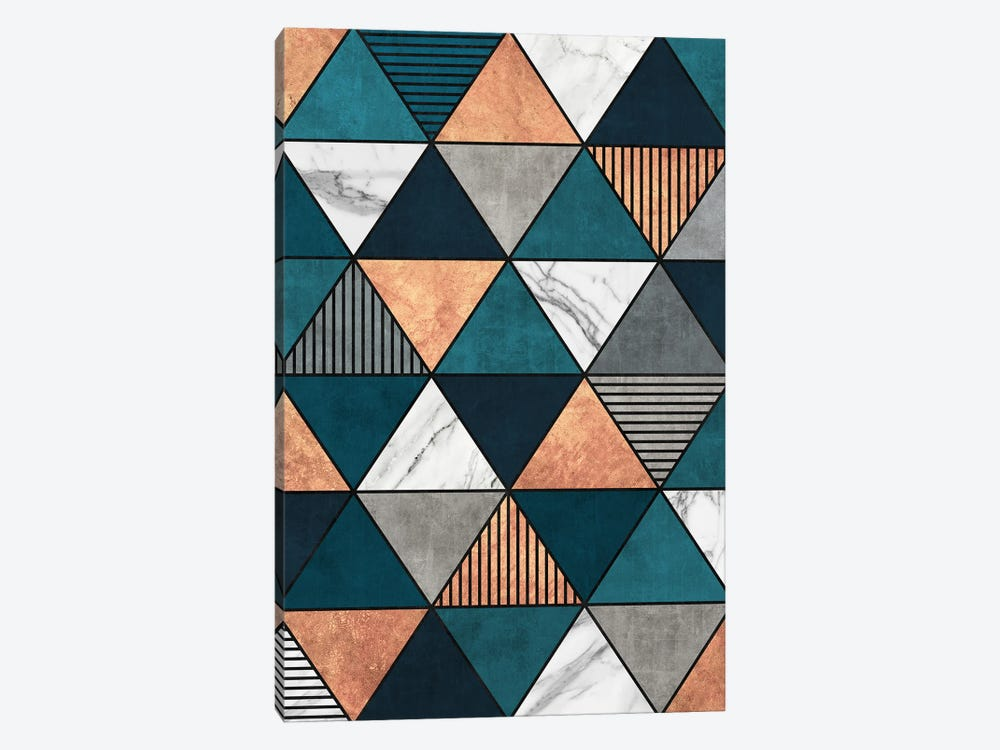 Copper, Marble and Concrete Triangles 2 with Blue by Zoltan Ratko 1-piece Canvas Print