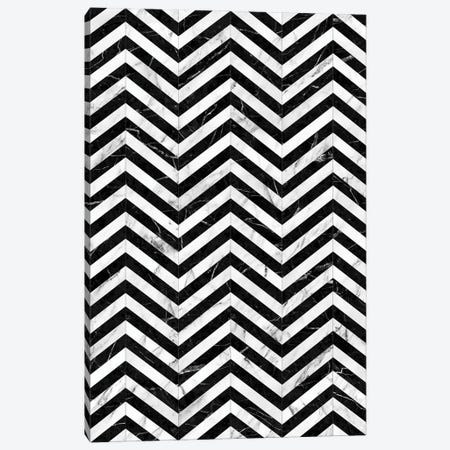 Marble Chevron Pattern - Black and White Canvas Print #ZRA56} by Zoltan Ratko Art Print