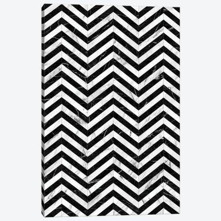 Marble Chevron Pattern - Black and White Canvas Print #ZRA56} by Zoltan Ratko Art Print