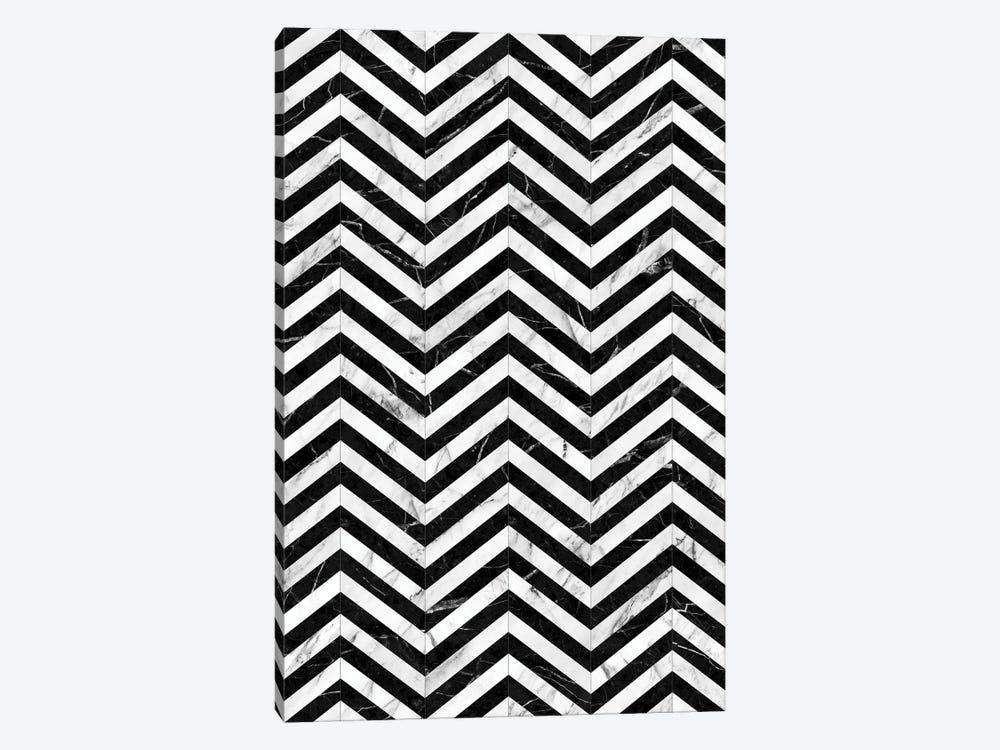 Marble Chevron Pattern - Black and White by Zoltan Ratko 1-piece Canvas Artwork