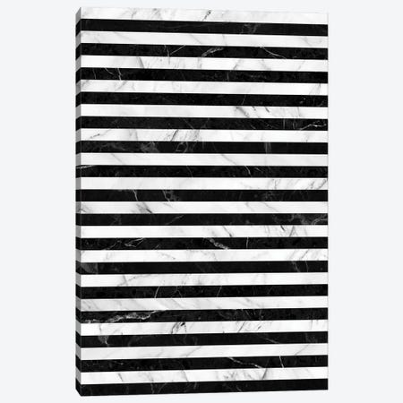 Marble Stripes Pattern - Black and White Canvas Print #ZRA57} by Zoltan Ratko Canvas Print