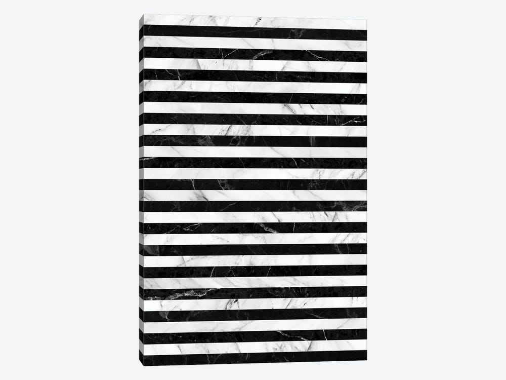 Marble Stripes Pattern - Black and White by Zoltan Ratko 1-piece Canvas Art Print
