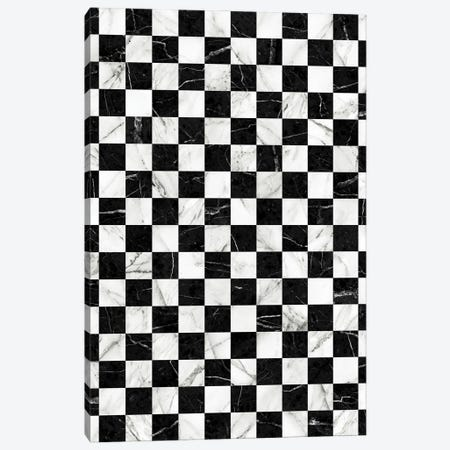 Marble Checkerboard Pattern - Black and White Canvas Print #ZRA58} by Zoltan Ratko Canvas Artwork