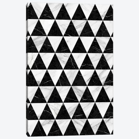 Marble Triangle Pattern - Black and White Canvas Print #ZRA59} by Zoltan Ratko Canvas Art