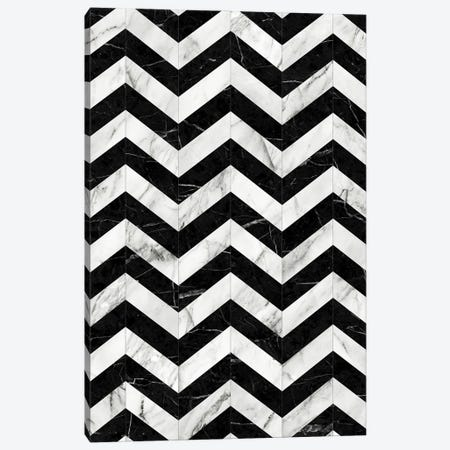 Marble Chevron Pattern 2 - Black and White Canvas Print #ZRA60} by Zoltan Ratko Canvas Art Print
