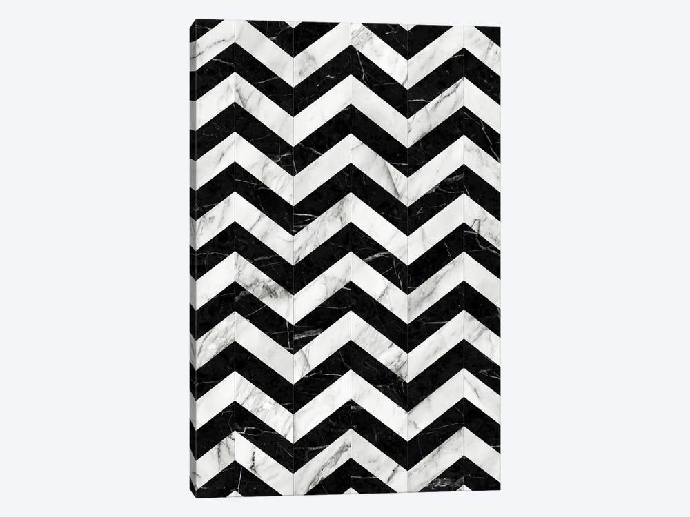 Marble Chevron Pattern 2 - Black and White by Zoltan Ratko 1-piece Canvas Print