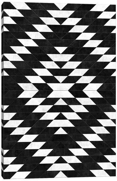 Urban Tribal Pattern No.14 - Aztec - Black Concrete Canvas Art Print