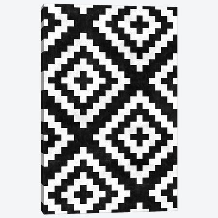 Urban Tribal Pattern No.17 - Aztec - Black and White Concrete Canvas Print #ZRA66} by Zoltan Ratko Canvas Art