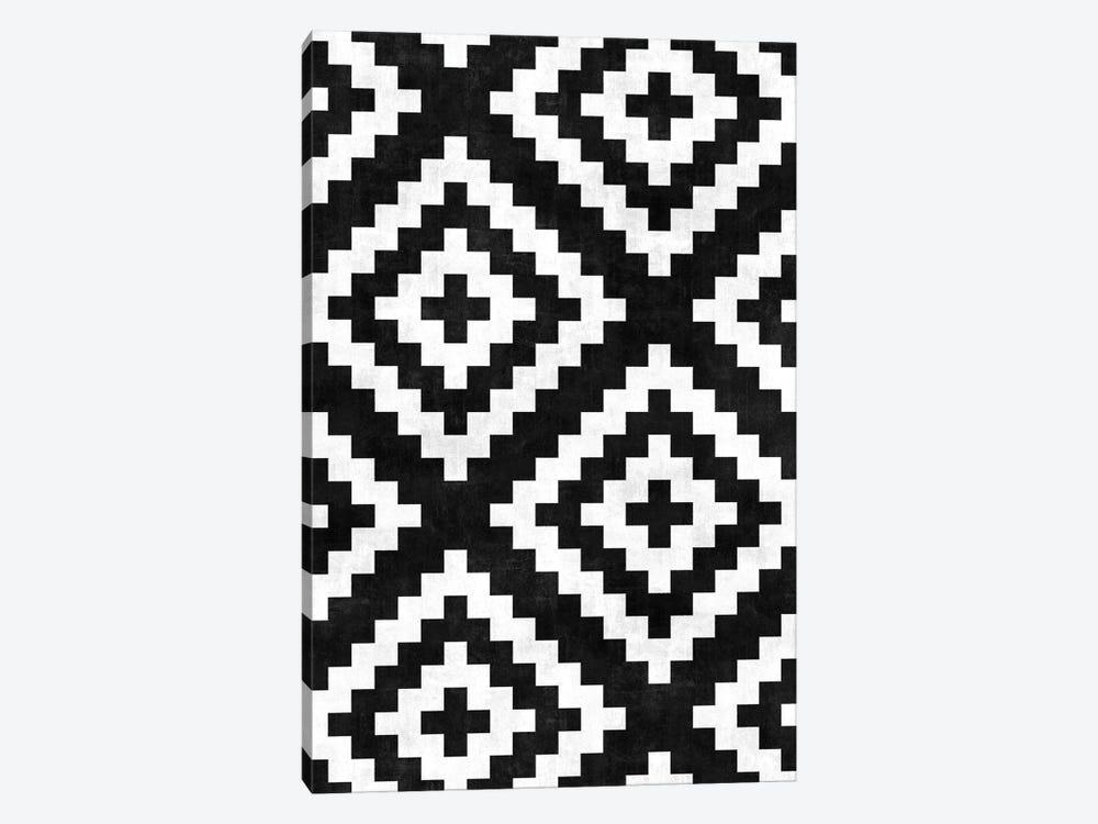 Urban Tribal Pattern No.17 - Aztec - Black and White Concrete by Zoltan Ratko 1-piece Canvas Print