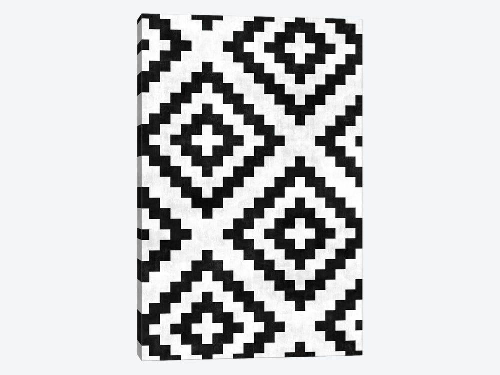 Urban Tribal Pattern No.18 - Aztec - Black and White Concrete by Zoltan Ratko 1-piece Canvas Artwork